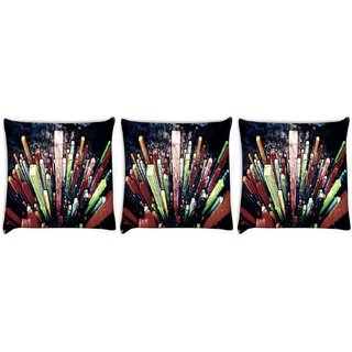 Snoogg Pack Of 3 Crystals Digital Art Digitally Printed Cushion Cover Pillow 8 X 8 Inch
