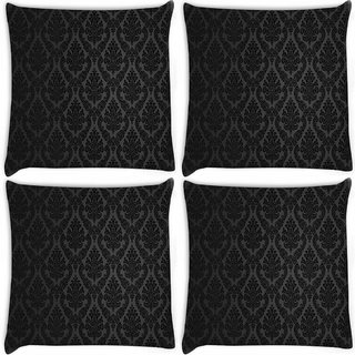 Snoogg Pack Of 4 Patterns Damask Digitally Printed Cushion Cover Pillow 8 X 8 Inch
