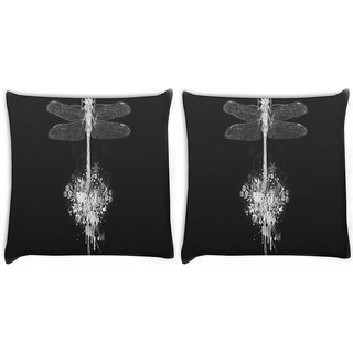 Snoogg Pack Of 2 Dragonfly Digitally Printed Cushion Cover Pillow 8 X 8 Inch