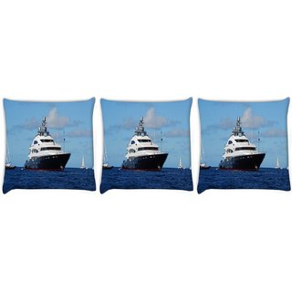 Snoogg Pack Of 3 White And Black Boat Digitally Printed Cushion Cover Pillow 14 x 14 Inch