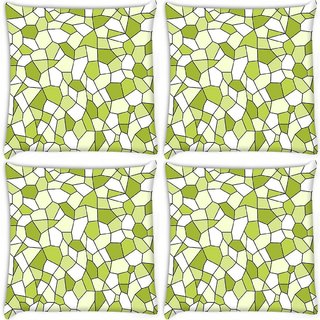 Snoogg Pack Of 4 Green Blocks Digitally Printed Cushion Cover Pillow 8 X 8 Inch