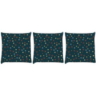 Snoogg Pack Of 3 Orange Blue Pattern Digitally Printed Cushion Cover Pillow 8 X 8 Inch