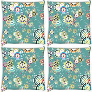 Snoogg Pack Of 4 Colorful Leaves Digitally Printed Cushion Cover Pillow 8 X 8 Inch