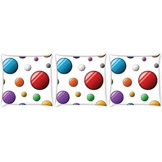 Snoogg Pack Of 3 Colorful Balls Digitally Printed Cushion Cover Pillow 8 X 8 Inch