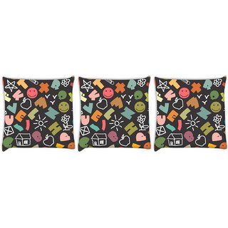Snoogg Pack Of 3 Colorful Alphabets Digitally Printed Cushion Cover Pillow 8 X 8 Inch