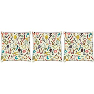Snoogg Pack Of 3 Alphabets Eyes Digitally Printed Cushion Cover Pillow 8 X 8 Inch
