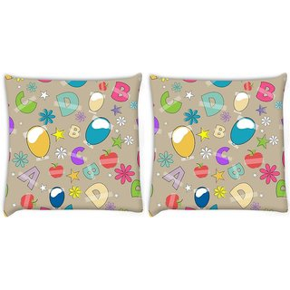 Snoogg Pack Of 2 Alphabets Balloons Digitally Printed Cushion Cover Pillow 8 X 8 Inch