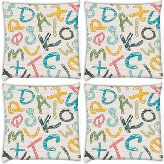 Snoogg Pack Of 4 Colors Of Alphabets Digitally Printed Cushion Cover Pillow 8 X 8 Inch