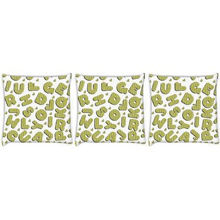 Snoogg Pack Of 3 Green Alphabets Digitally Printed Cushion Cover Pillow 8 X 8 Inch