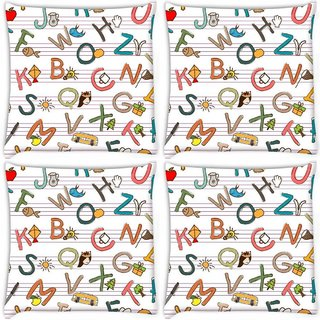 Snoogg Pack Of 4 Alphabets On Books Digitally Printed Cushion Cover Pillow 8 X 8 Inch