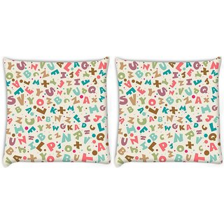 Snoogg Pack Of 2 Small Alphabets Digitally Printed Cushion Cover Pillow 8 X 8 Inch