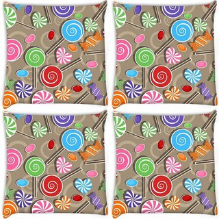 Snoogg Pack Of 4 Lollipop Digitally Printed Cushion Cover Pillow 8 X 8 Inch