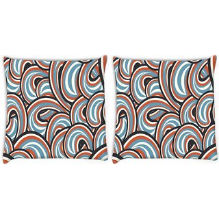Snoogg Pack Of 2 Mixed Color Pattern Digitally Printed Cushion Cover Pillow 8 X 8 Inch