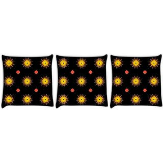 Snoogg Pack Of 3 Glowing Sun Digitally Printed Cushion Cover Pillow 8 X 8 Inch