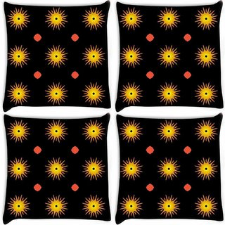 Snoogg Pack Of 4 Glowing Sun Digitally Printed Cushion Cover Pillow 8 X 8 Inch