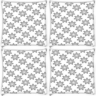 Snoogg Pack Of 4 Grey Stars Digitally Printed Cushion Cover Pillow 8 X 8 Inch