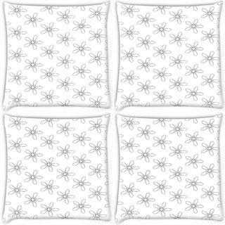 Snoogg Pack Of 4 Floral Grey Pattern Digitally Printed Cushion Cover Pillow 8 X 8 Inch