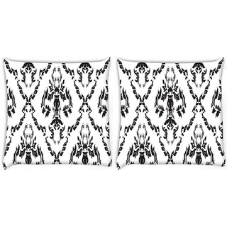 Snoogg Pack Of 2 Black And White Pattern Digitally Printed Cushion Cover Pillow 8 X 8 Inch