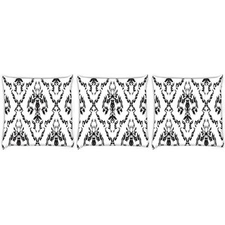 Snoogg Pack Of 3 Black And White Pattern Digitally Printed Cushion Cover Pillow 8 X 8 Inch
