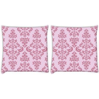 Snoogg Pack Of 2 Pink Pattern Digitally Printed Cushion Cover Pillow 8 X 8 Inch