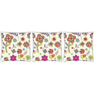 Snoogg Pack Of 3 Colorful Flower Digitally Printed Cushion Cover Pillow 8 X 8 Inch