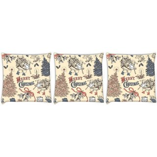 Snoogg Pack Of 3 Merry Christmas Skin Digitally Printed Cushion Cover Pillow 8 X 8 Inch