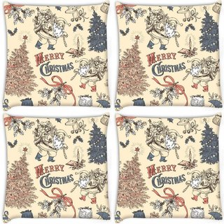 Snoogg Pack Of 4 Merry Christmas Skin Digitally Printed Cushion Cover Pillow 8 X 8 Inch