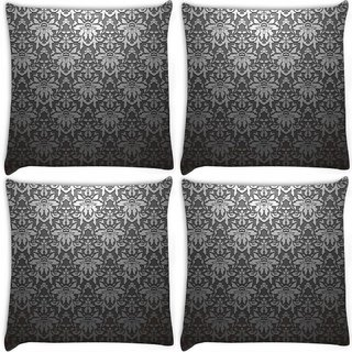 Snoogg Pack Of 4 Grey Abstract Pattern Digitally Printed Cushion Cover Pillow 8 X 8 Inch