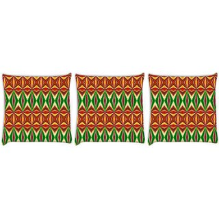 Snoogg Pack Of 3 Colorful Pattern Amazed Digitally Printed Cushion Cover Pillow 8 X 8 Inch