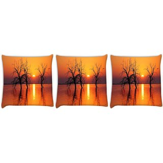 Snoogg Pack Of 3 Trees In Lake Digitally Printed Cushion Cover Pillow 8 X 8 Inch