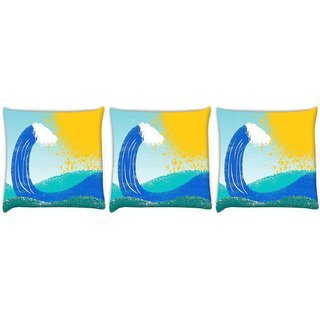 Snoogg Pack Of 3 Sea Waves Digitally Printed Cushion Cover Pillow 8 X 8 Inch