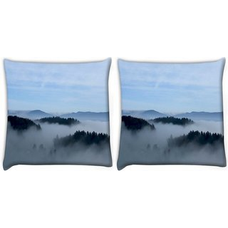 Snoogg Pack Of 2 Smoky Fog Digitally Printed Cushion Cover Pillow 8 X 8 Inch