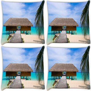 Snoogg Pack Of 4 Beach House Digitally Printed Cushion Cover Pillow 8 X 8 Inch
