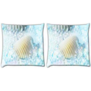 Snoogg Pack Of 2 Blue Shell Digitally Printed Cushion Cover Pillow 8 X 8 Inch