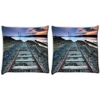 Snoogg Pack Of 2 Railway Track Digitally Printed Cushion Cover Pillow 8 X 8 Inch