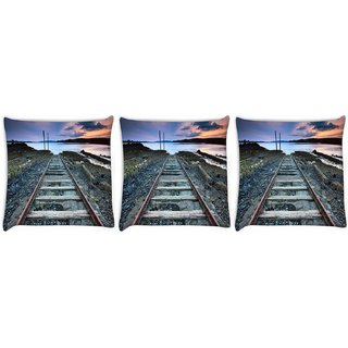 Snoogg Pack Of 3 Railway Track Digitally Printed Cushion Cover Pillow 8 X 8 Inch