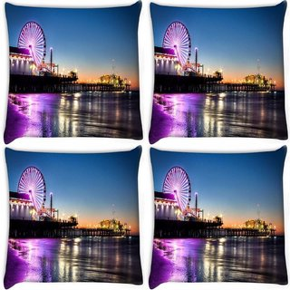 Snoogg Pack Of 4 Giant Wheel Digitally Printed Cushion Cover Pillow 8 X 8 Inch