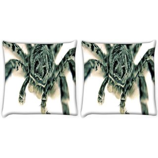 Snoogg Pack Of 2 Black Spider Digitally Printed Cushion Cover Pillow 8 X 8 Inch