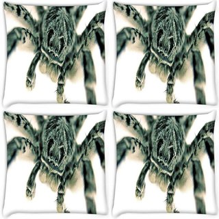 Snoogg Pack Of 4 Black Spider Digitally Printed Cushion Cover Pillow 8 X 8 Inch