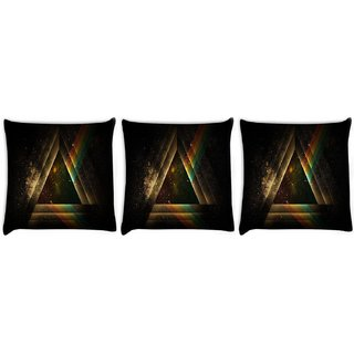 Snoogg Pack Of 3 Abstract Triangle Digitally Printed Cushion Cover Pillow 8 X 8 Inch