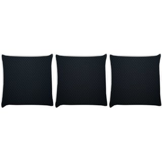 Snoogg Pack Of 3 Black Wall Digitally Printed Cushion Cover Pillow 8 X 8 Inch