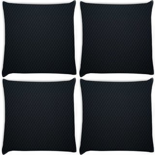 Snoogg Pack Of 4 Black Wall Digitally Printed Cushion Cover Pillow 8 X 8 Inch