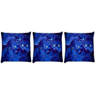 Snoogg Pack Of 3 Blue Flower Digitally Printed Cushion Cover Pillow 8 X 8 Inch
