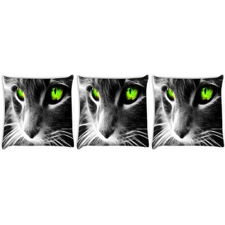 Snoogg Pack Of 3 Neon Eyes Digitally Printed Cushion Cover Pillow 8 X 8 Inch