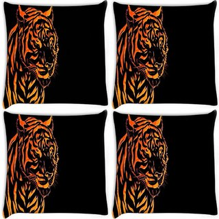 Snoogg Pack Of 4 Fury Tiger Digitally Printed Cushion Cover Pillow 8 X 8 Inch