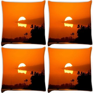 Snoogg Pack Of 4 Sunrise Digitally Printed Cushion Cover Pillow 8 X 8 Inch