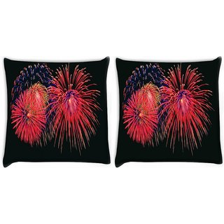 Snoogg Pack Of 2 Rocket Firecrackers Digitally Printed Cushion Cover Pillow 8 X 8 Inch
