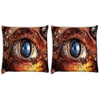 Snoogg Pack Of 2 Mechanism Of Eye Digitally Printed Cushion Cover Pillow 8 X 8 Inch