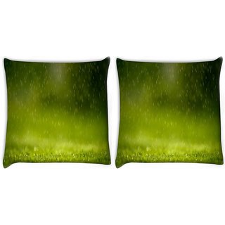 Snoogg Pack Of 2 Falling Raindrops On Grass Digitally Printed Cushion Cover Pillow 8 X 8 Inch