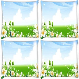 Snoogg Pack Of 4 White Flower Garden Digitally Printed Cushion Cover Pillow 8 X 8 Inch